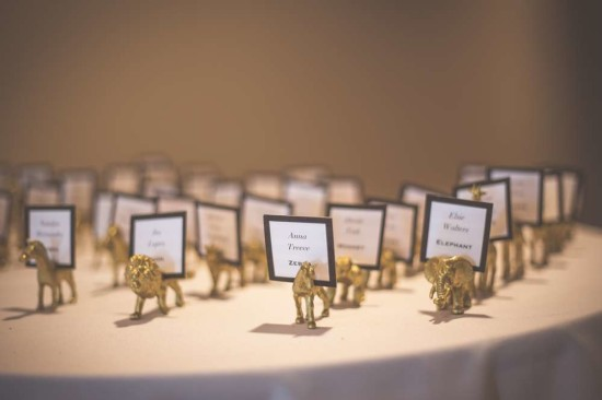 name tags with gold animals