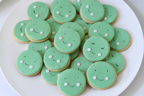 adorable peas sugar cookies