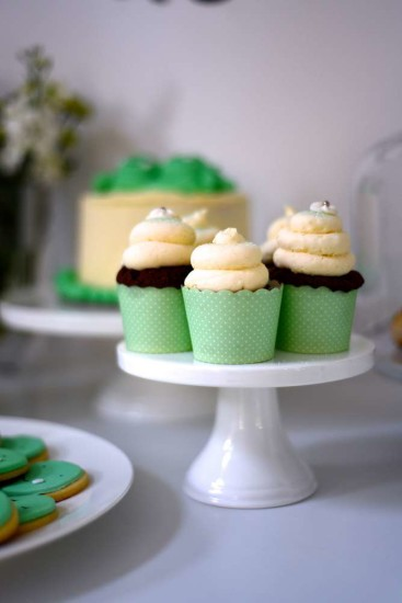 green dotted cupcake wrappers