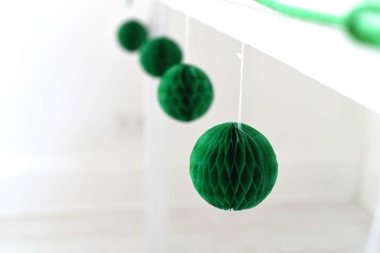deep green paper honeycomb decoration