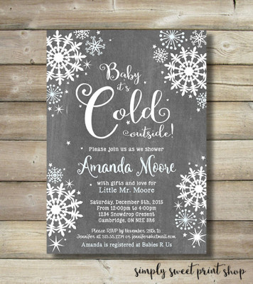 Baby It's Cold Outside Winter Wonderland Boy Baby Shower Invite Invitation Blue White Snow
