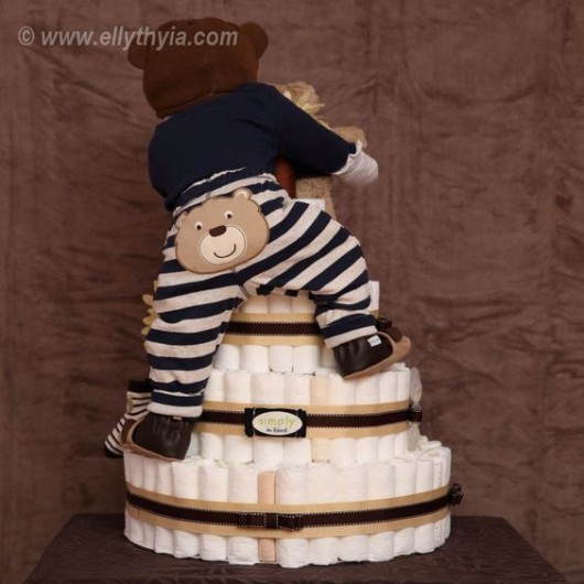 Brown Bear and Baby Boy Diaper Cake
