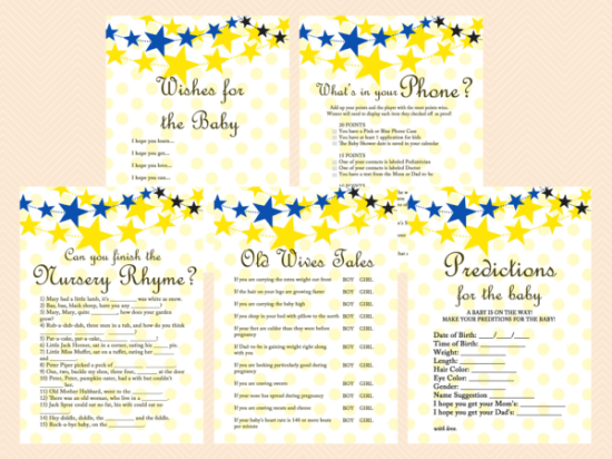 Twinkle-Twinkle-Baby-Shower-Game-Printables-Package-Neutral-Little-Stars-Games-Lullaby-Baby-Shower-Blue-and-Yellow-TLC14