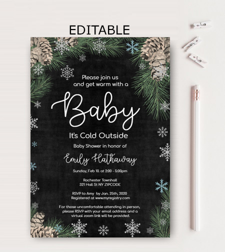 editable pinecone Baby Its Cold Outside Baby Shower Invitation