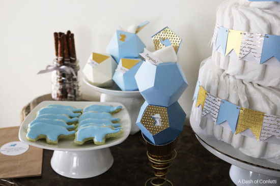 geometric baby shower boxes and decorations