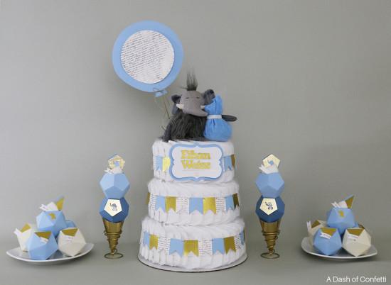geometric elephant baby shower theme