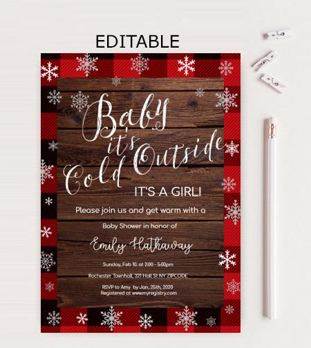 lumberjack buffalo plaid winter baby shower invitation