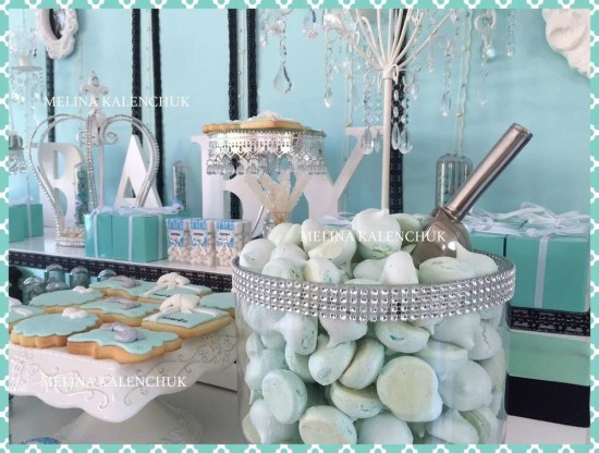 tiffany-baby-shower dessert table