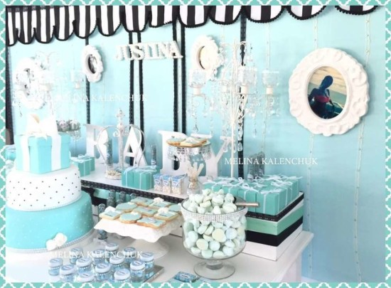 tiffany-baby-shower dessert table and centerpiece cake