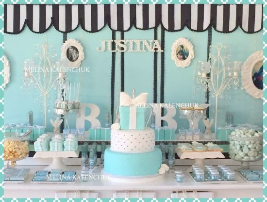 tiffany-baby-shower dessert table decorations