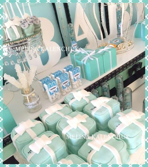 tiffany-baby-shower favor boxes tiffany blue desserts