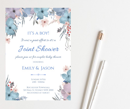 boy joint shower coed baby shower invitation