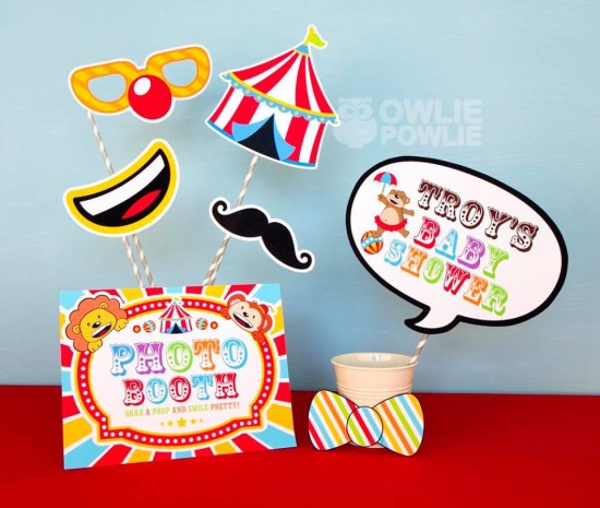 circus-carnival-baby-shower photo booth props