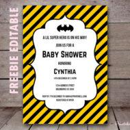 free editable batman baby shower invitation