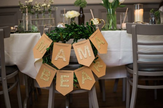 gold glitter mama bear banner for chair