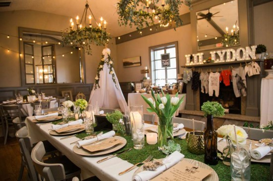 guest table with grass runner table setting