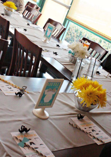 little man baby shower guest table
