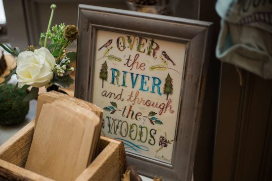over the river and through the woods sign