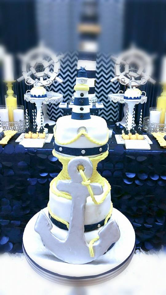 Blue-and-White-Nautical-Baby-Shower-Anchor-Cake