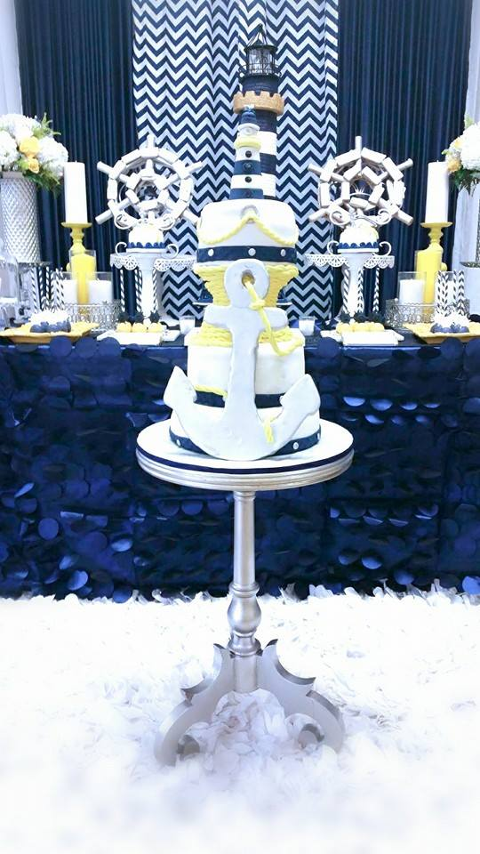 Blue-and-White-Nautical-Baby-Shower-Treat-Table