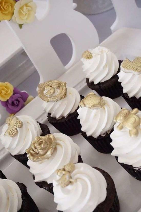 Elegant-Yellow-and-Purple-Baby-Shower-Cupcakes