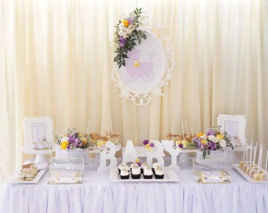 Elegant-Yellow-and-Purple-Baby-Shower-Dessert-Table