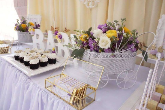 Elegant-Yellow-and-Purple-Baby-Shower-Desserts-Table