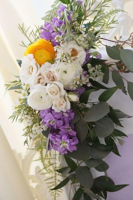 Elegant-Yellow-and-Purple-Baby-Shower-Flowers