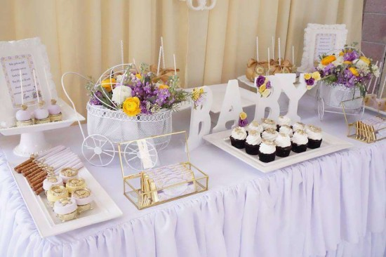 Elegant-Yellow-and-Purple-Baby-Shower-Treat-Table