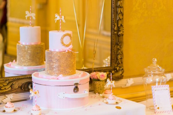 Golden-Carrousel-Babyshower-Cake