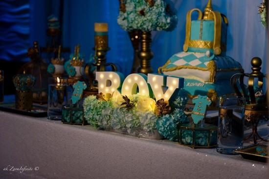 Golden-Glamorous-Prince-Baby-Shower-Decor-Buffet