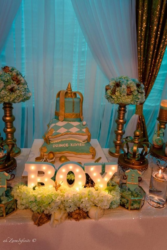 Golden-Glamorous-Prince-Baby-Shower-Decorations-Treats