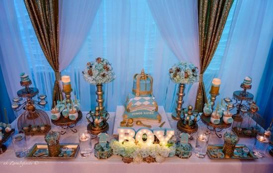 Golden-Glamorous-Prince-Baby-Shower-Dessert-Table