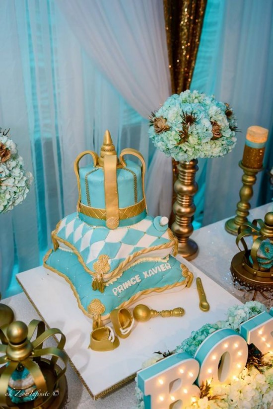 Golden-Glamorous-Prince-Baby-Shower-Tiered-Cake