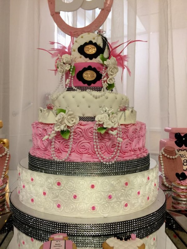 Modern-Chic-Chanel-Baby-Shower-Cake