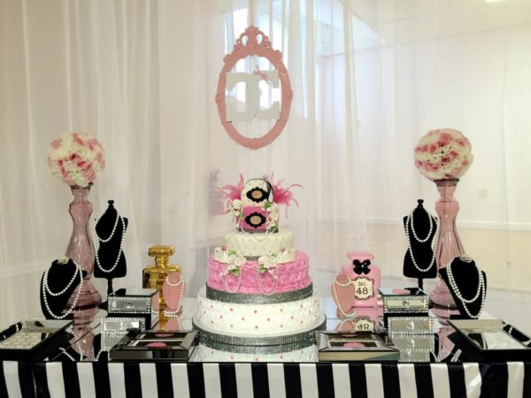 Modern-Chic-Chanel-Baby-Shower-Cake-Table
