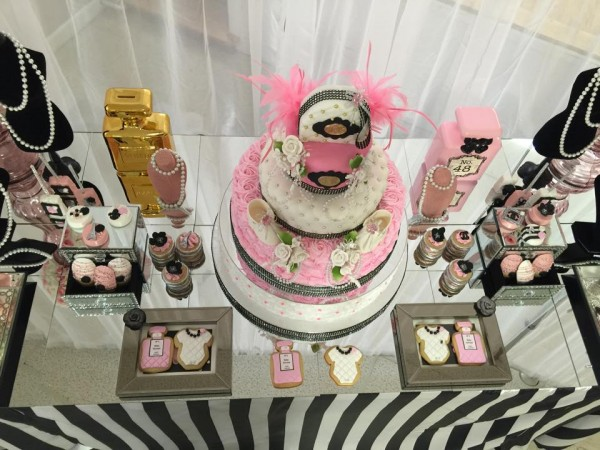 Modern-Chic-Chanel-Baby-Shower-Dessert-Table