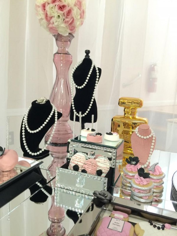 Modern-Chic-Chanel-Baby-Shower-Flowers-Pearls