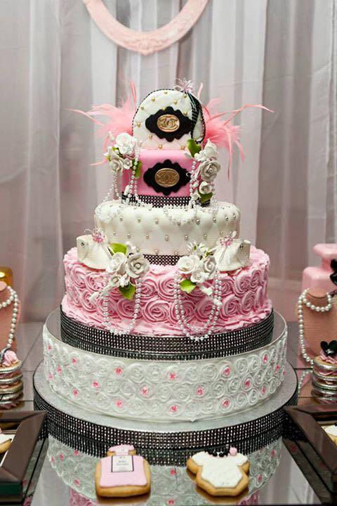 Modern-Chic-Chanel-Baby-Shower-Layered-Cake