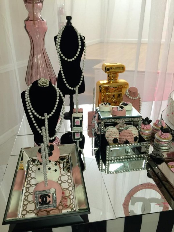 Modern-Chic-Chanel-Baby-Shower-Pearls-Decor