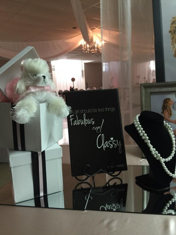 Modern-Chic-Chanel-Baby-Shower-Puppy-Boxes