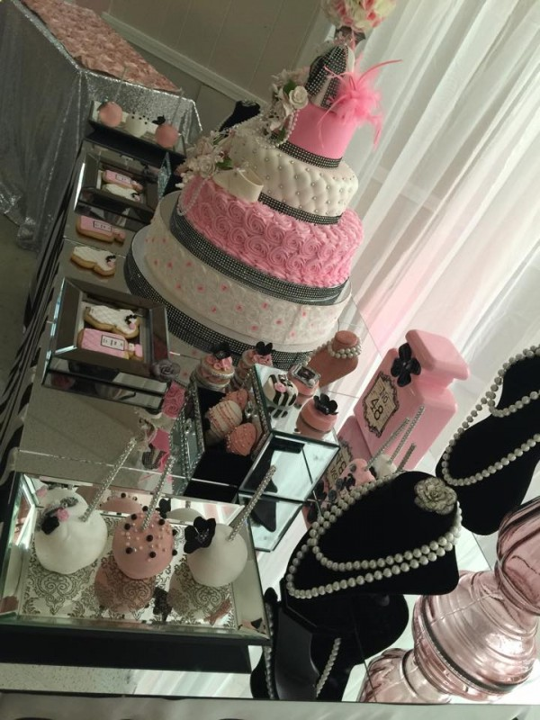 Modern-Chic-Chanel-Baby-Shower-Sweets-Table