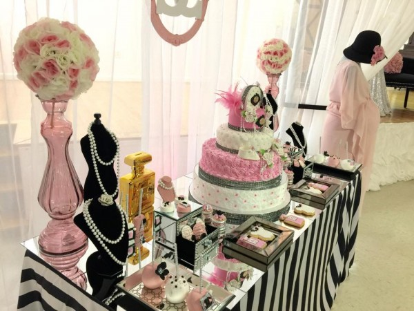 Modern-Chic-Chanel-Baby-Shower-Treat-Table