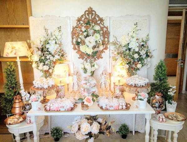 Floral-Copper-Baby-Shower-Buffet