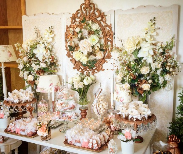 Floral-Copper-Baby-Shower-Dessert-Table