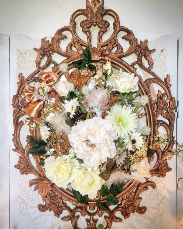 Floral-Copper-Baby-Shower-Flower-Mirror-Display