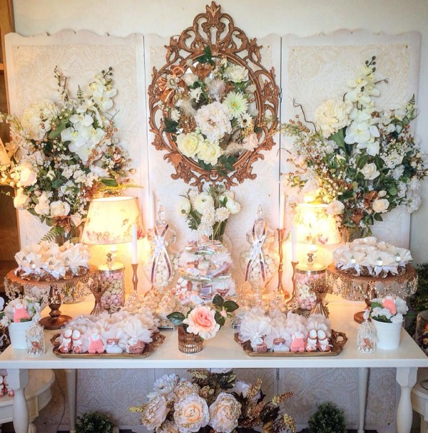 Floral-Copper-Baby-Shower-Treat-Buffet