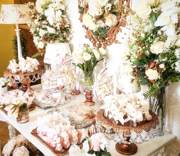 Floral-Copper-Baby-Shower-Treat-Table
