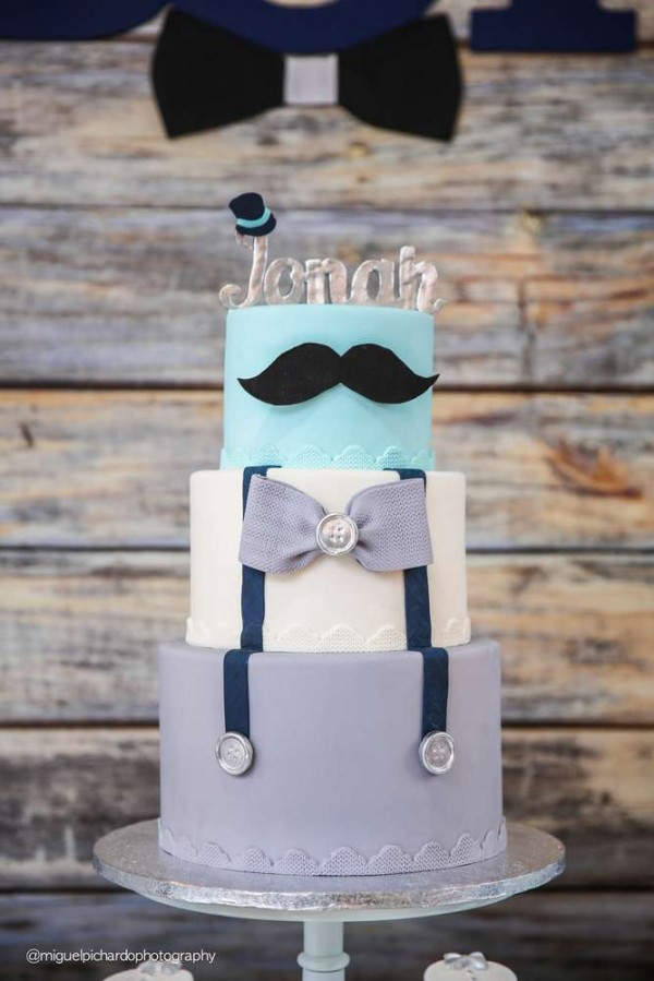 Sophisticated-Mustaches-And-Bows-Baby-Shower-Cake