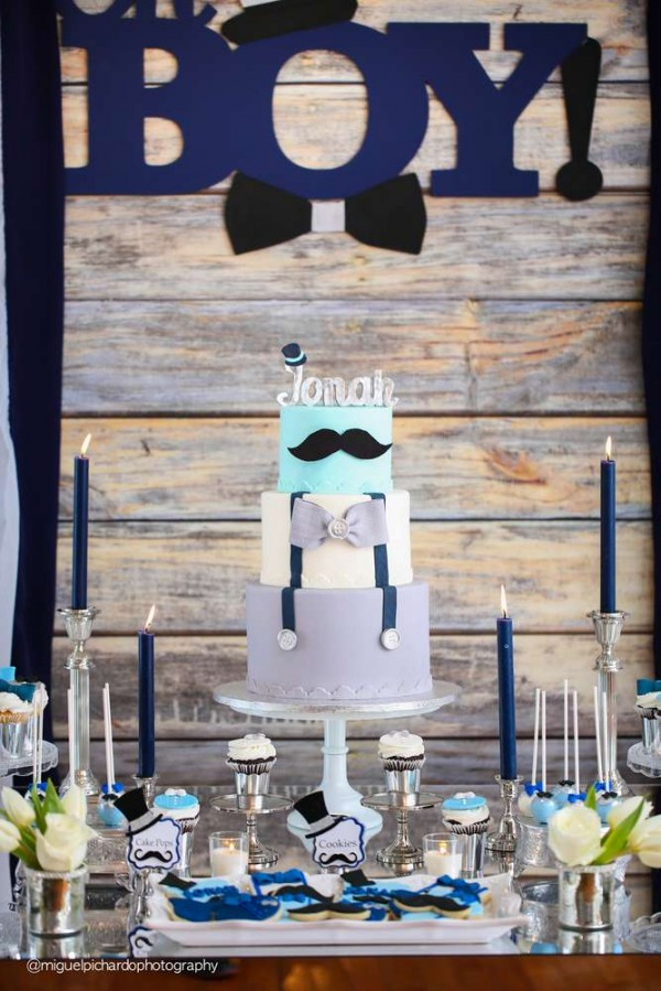 Sophisticated-Mustaches-And-Bows-Baby-Shower-Tall-Cake